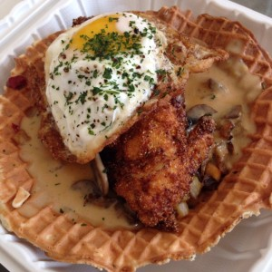 This is chicken and waffles from Little Chef Counter in San Jose's San Pedro Market. Hands down the best post-race meal I have ever had.